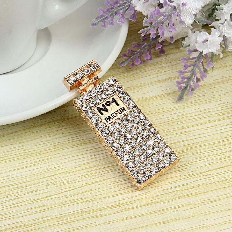 Nouveau / alliage glacé Out Flat Back bouteille de parfum en strass pour accessoires de mode de bricolage Coquille de téléphone portable pièces en alliage DIY