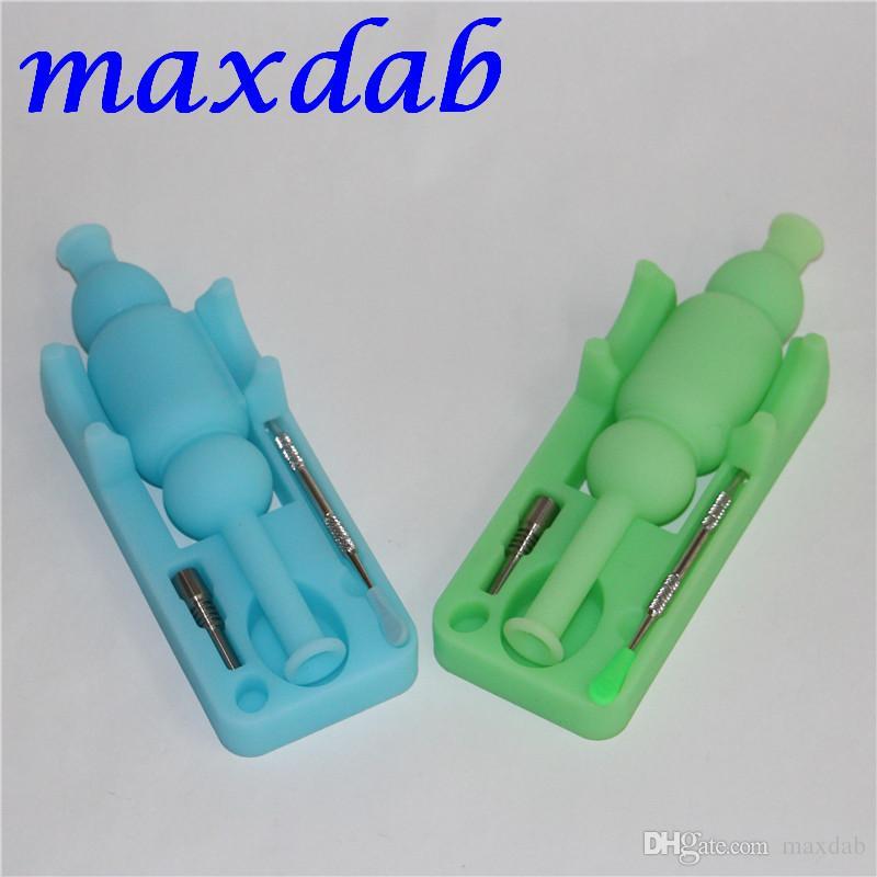 Glow in Dark Silicon collezionista di nettare in silicone nettare acqua bong con unghie in titanio da 10 mm e strumenti Dabber Spedizione gratuita DHL