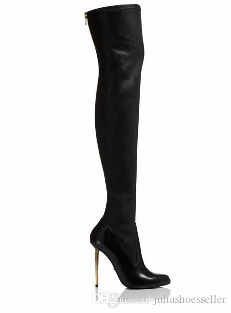 Winter New Leather / Suede Sexy Women Over the Knee Boots Metallic Thin High Heels Back Zipper Women Boots Black Botas Shoes