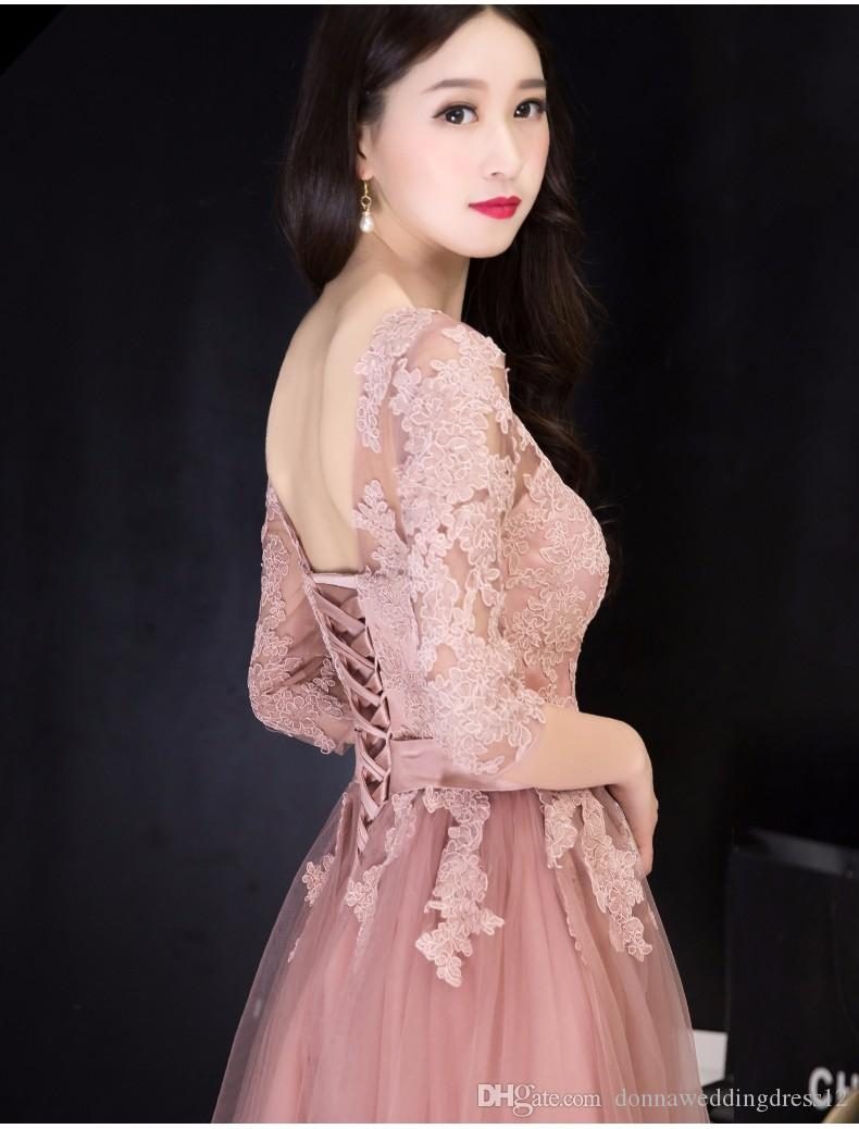 Neue Ankunft elegante halbe Hülse Kleid Prom Party Kleider A-Linie Sweep Zug Appliques abendkleid freies Verschiffen 2017
