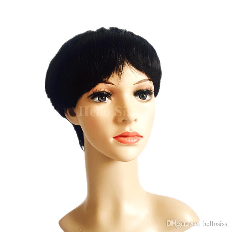İşlenmemiş Hint Bakire İnsan Saç Bob Kesim hiçbiri Tam Dantel Dantel Ön Peruk Tutkalsız Kısa Bob Peruk Afrikalı Amerikan Kadınlar Için 4-6 Inç