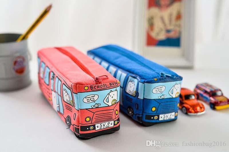 Enfants Crayon Cas Bande Dessinée Bus Voiture Papeterie Sac Animaux Mignons Toile Crayon Sacs Pour Garçons Filles Fournitures Scolaires