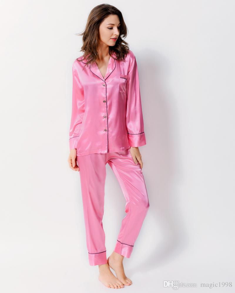 Kadınlar Saten İpek Pijama Uzun kollu Bahar Pijama Katı Renk İpek pijamalar Pijama Casual Ana Wear 1702 ayarlar