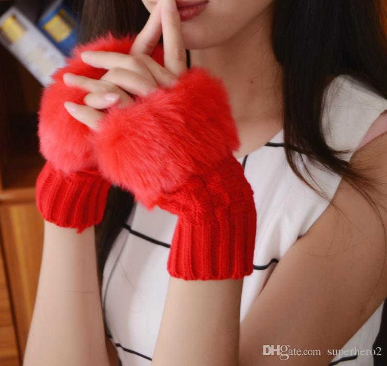قفازات زر فتاة النساء محبوك فو الفراء أرنب أصابع شتاء أدفأ القفازات في الهواء الطلق الملونة هدية عيد الميلاد الإكسسوارات