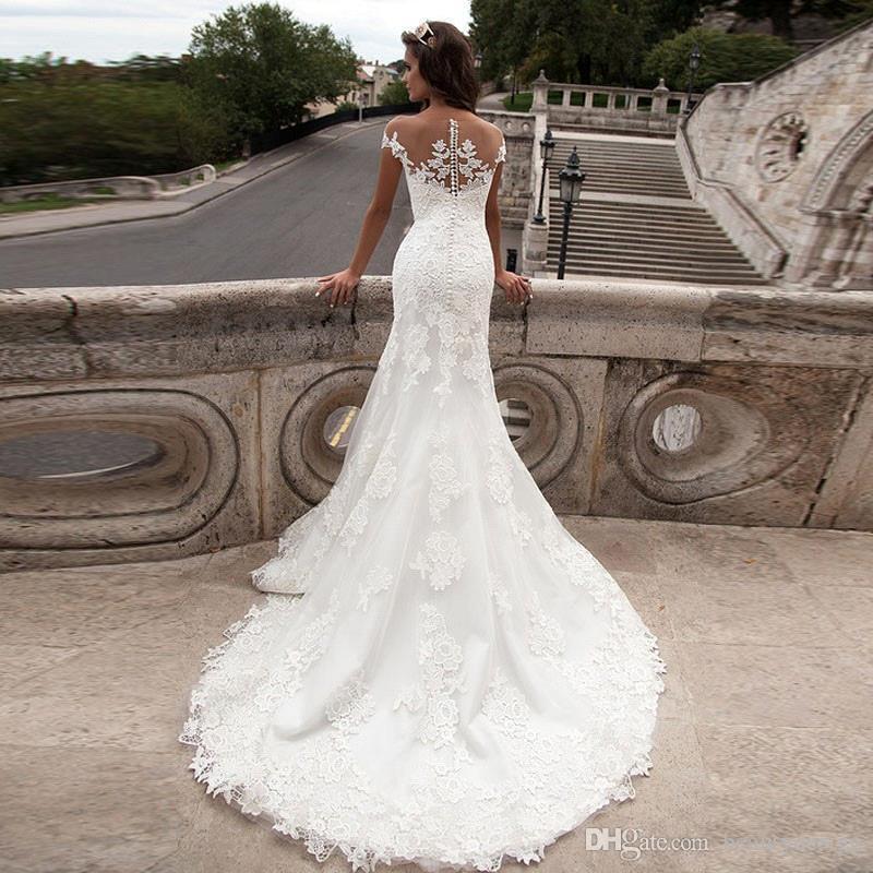 Barato 2019 Tallas grandes sirena vestidos de novia apliques de cuello redondo manga corta encaje Vestido De Noiva vestidos de novia sin mangas CPS542