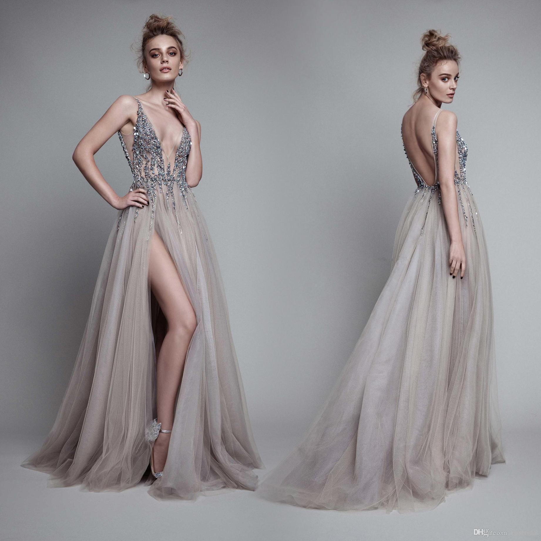2006e118e0 2018 New Berta Sexy V Neck High Split Evening Dresses Gowns Luxury Sparkly  Beaded Detail Plunging Neck Backless Occasion Prom Dress Gown Exclusive  Evening ...