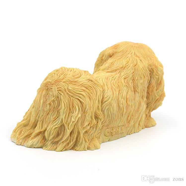 Pekingese Dog Statue - liegend Puppy Hand Painted Geschenk Pet Lovers Yellow 6