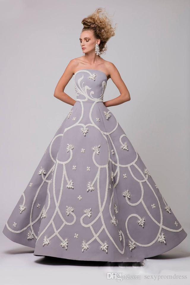 Elegante Perlen, die arabische Abendkleider bördeln Graues trägerloses reizvolles backless Satin-Abschlussball-Kleid-Fußboden-Längen-formale Party-Kleider besonders angefertigt
