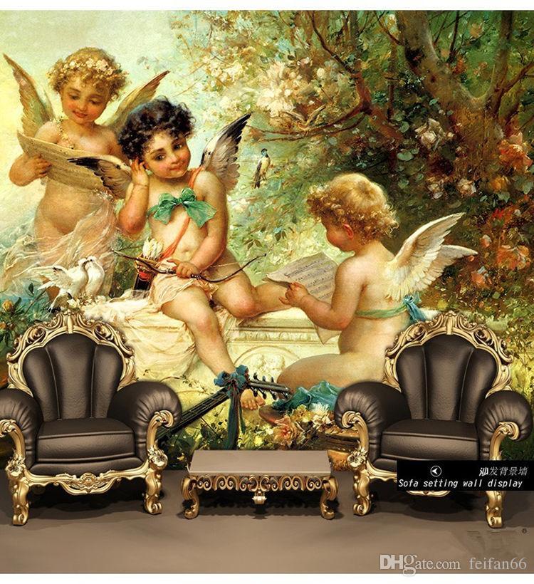 Christian Flying Angel Baby Religion Painting Vinyi Wallpaper 3D Flooring Wall Household Mural Rolls for Livingroom Hotel Mall Bedroom