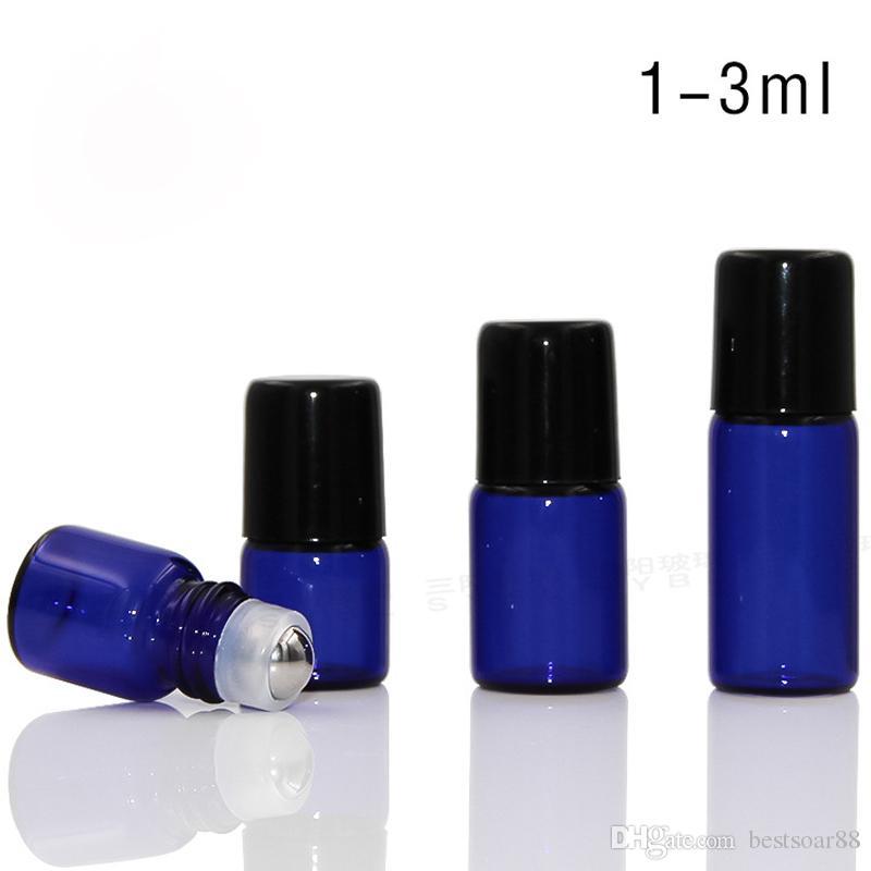 1ml 2ml 3ml Empty Essential Oil Roller Ball Bottles Blue Glass Roll-On Refillable Bottles Deodorant Roll On Glass Dropper Bottle