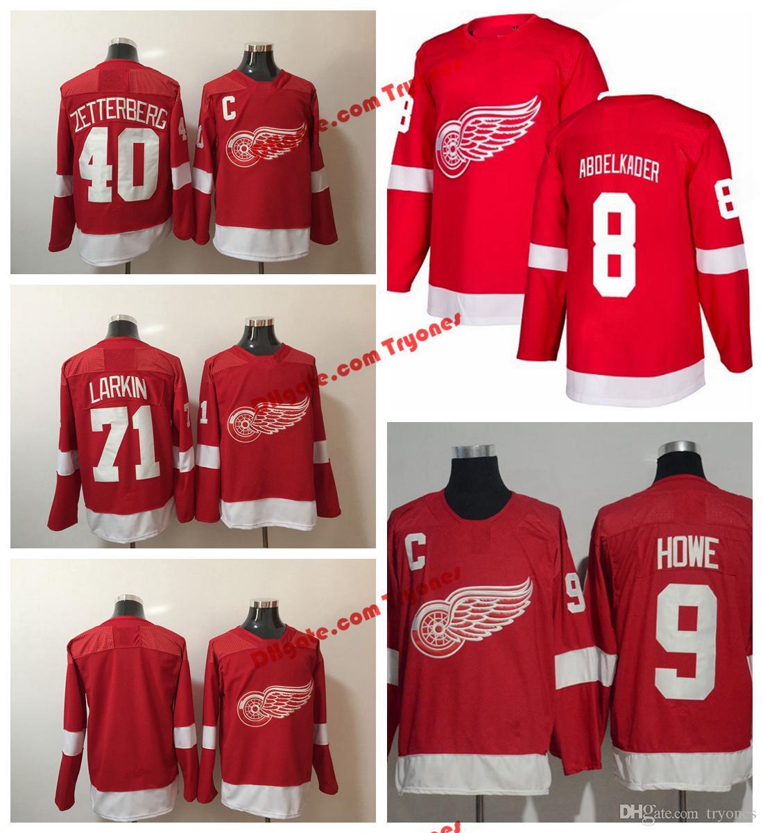 2019 2018 AD NEW Detroit Red Wings Hockey Jerseys 71 Dylan Larkin 40 Henrik  Zetterberg 9 Gordie Howe 8 Justin Abdelkader Stitched Jerseys From Tryones 038464b9d