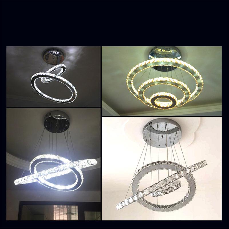 Modern LED Crystal Chandelier led Ring Diamond K9 Pendant lamps lighting For Beach House Bedroom Dining Room AC110-240V LED SMD Crystal Ce