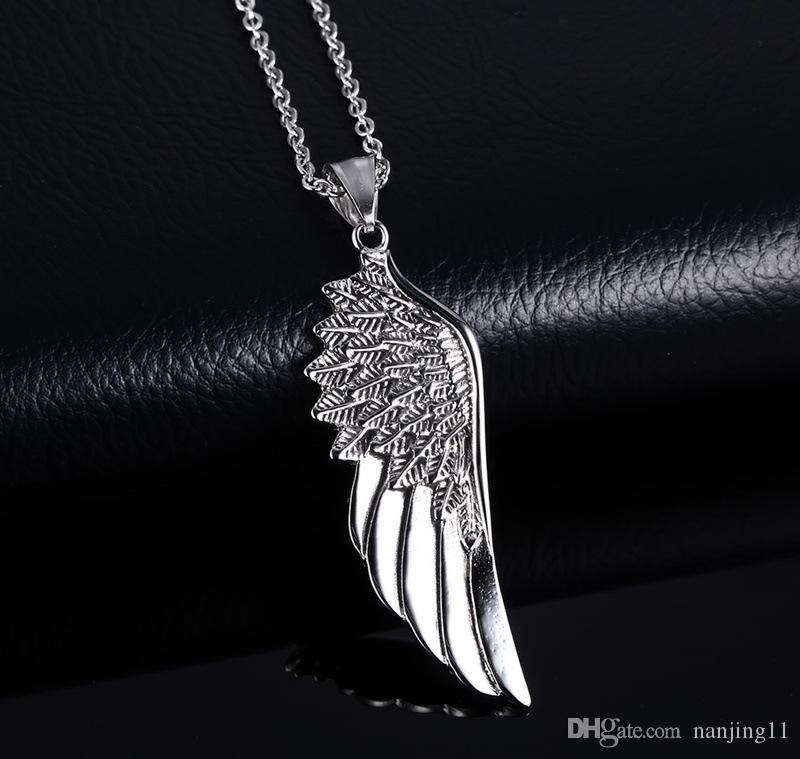 "Men Choker Necklaces Stainless Steel Vintage Gothic Feather Angel Wing Pendants Necklace Silver Tone Kettingen Kolye Jewelry 24"" PN-505"