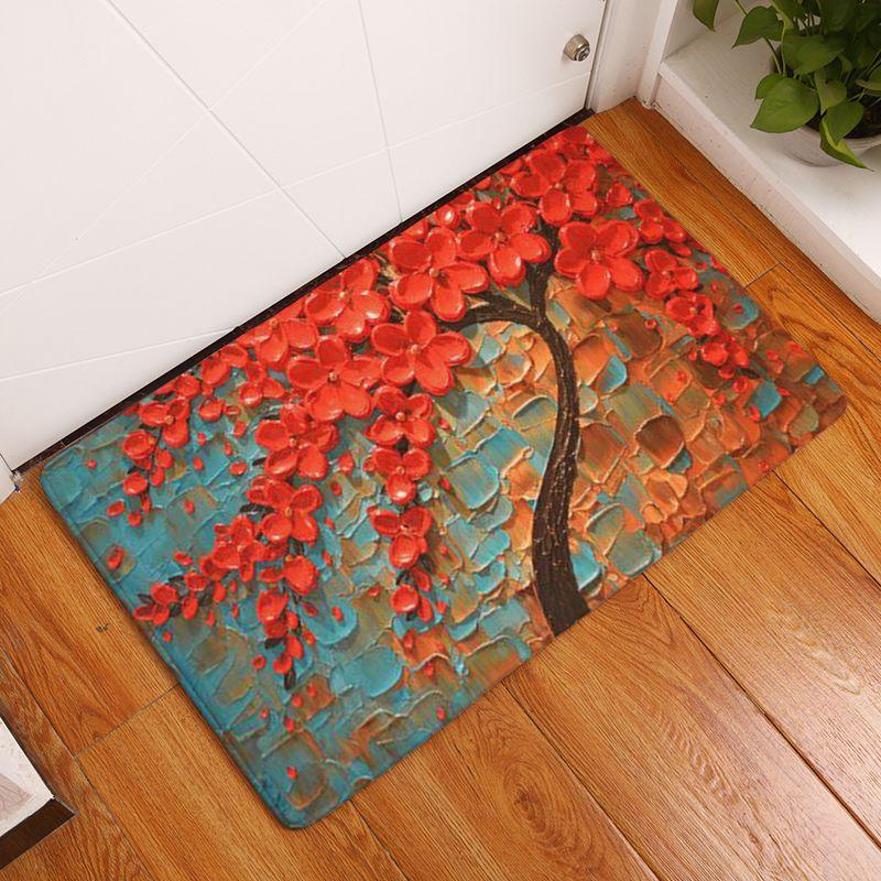 Nice Oil Painting Trees Doormat Printed Velvet Bathroom Carpet Non Slip Indoor  Kitchen Mat Decorative Entrance Floor Rugs Replace Carpet Kashan Rugs From  ...