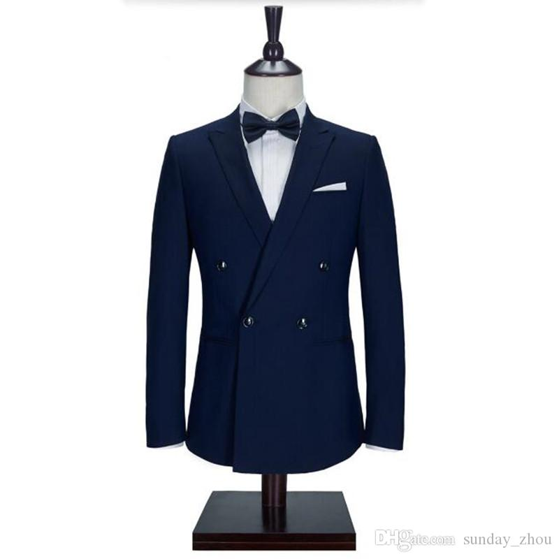 Navy Blue men suits jacket stylish Handmade groom Wedding tuxedos jacket Custom Made formal Suit Jacket