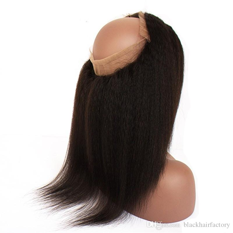Lace Frontal 360 Degree 22x4x2 Lace Band Brazilian Hair Natural Color Kinky Straight No Tangle No Shedding Hot Sell