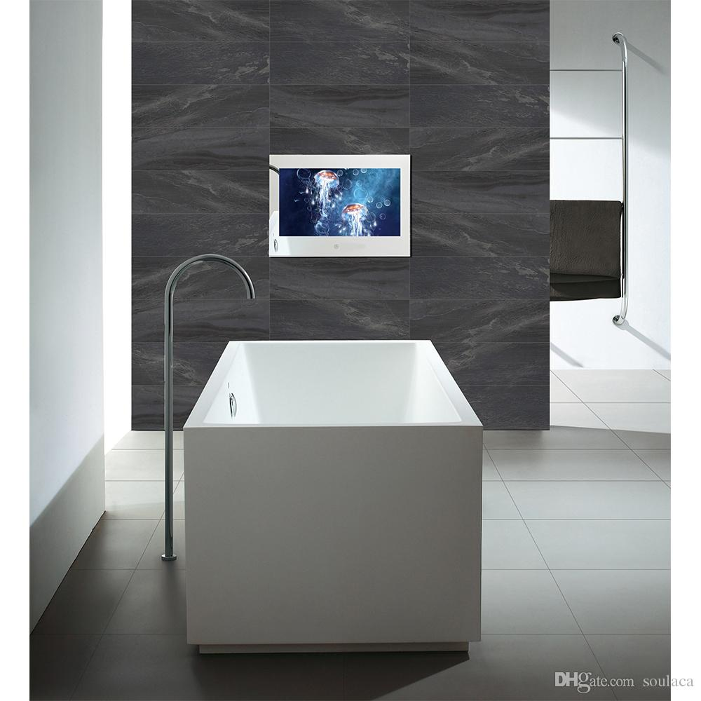 "Soulaca 10.6"" inch IP66 Magic Mirror Bathroom Waterproof TV for Shower Hotel Interior Design Frameless Mini Screen TV"