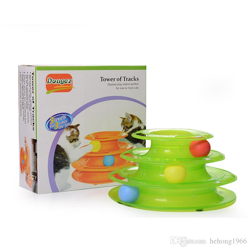 Pet Toy Cat Track Ball Disc Plate Green Orange Three Layers Intelligence Play Tray Supplies Funny 15 5dg F R