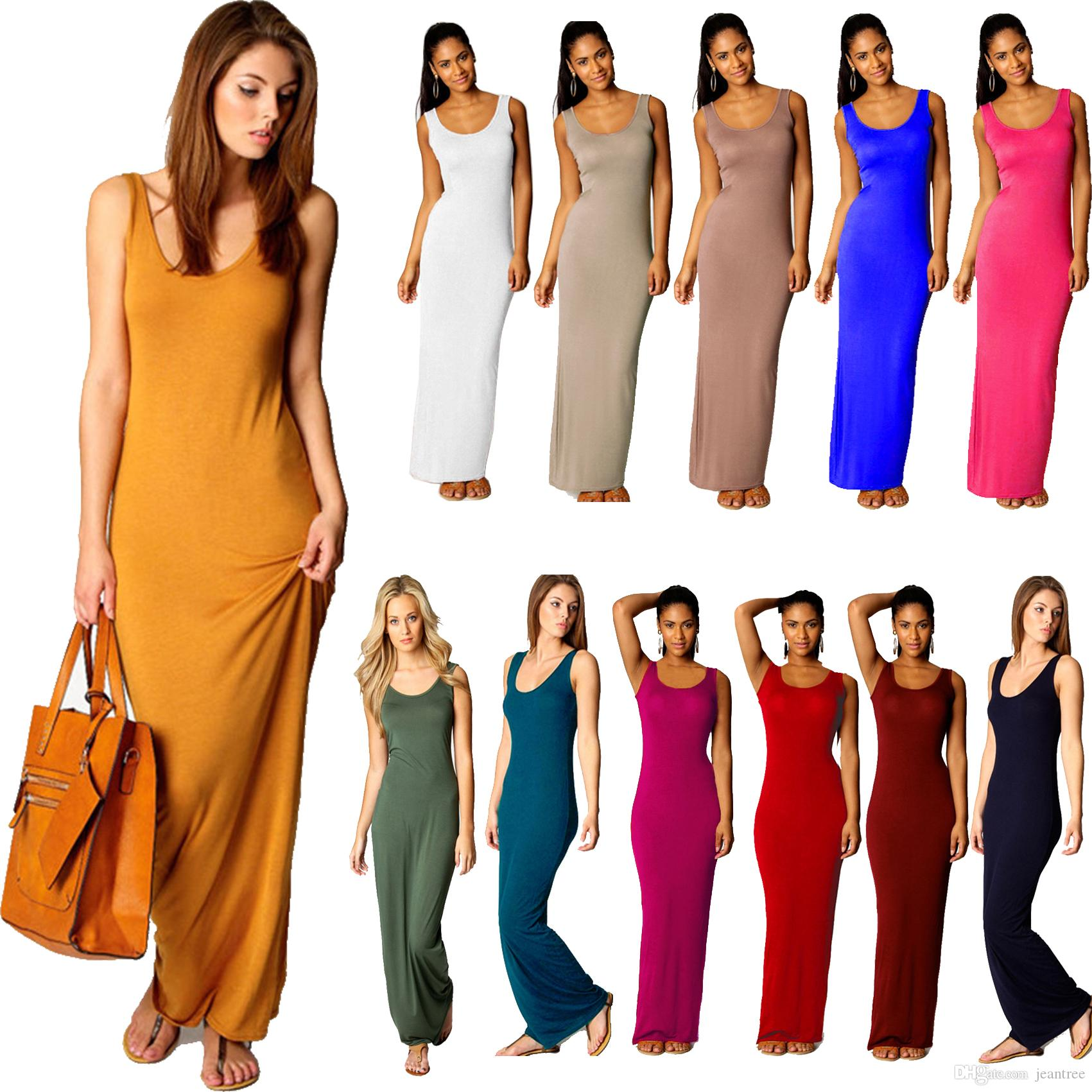 e7d482c8a5 Woman Dresses Ladies Jersey Long Summer Vest Racer Muscle Back Maxi Dress  Scoop Neck Women Clothes#20161206 2 Drop Shipping Casual Dress Chiffon  Dresses ...