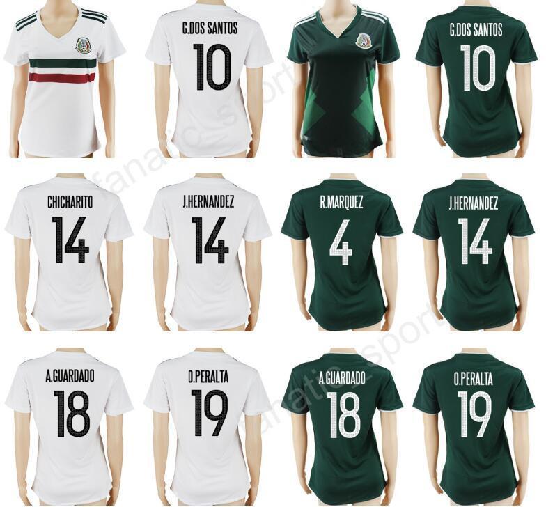 2017 2018 Fútbol Mujeres Jersey México Mujer Fútbol Camiseta Mexicana  Personalizada Dama Equipo Nacional 4 Rafael Márquez 11 Carlos Vela 14  CHICHARITO Por ... 2ea705197bc06