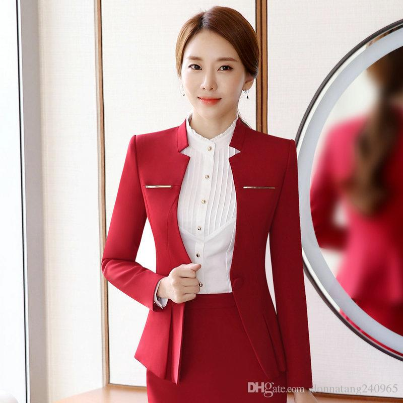 7ddde3f2c45 2019 Elegant Design Women Blazers And Jackets One Button Slim Bodycon  Ladies Long Sleeve Blazer Office Work Wear Business Jacket Outwear From ...