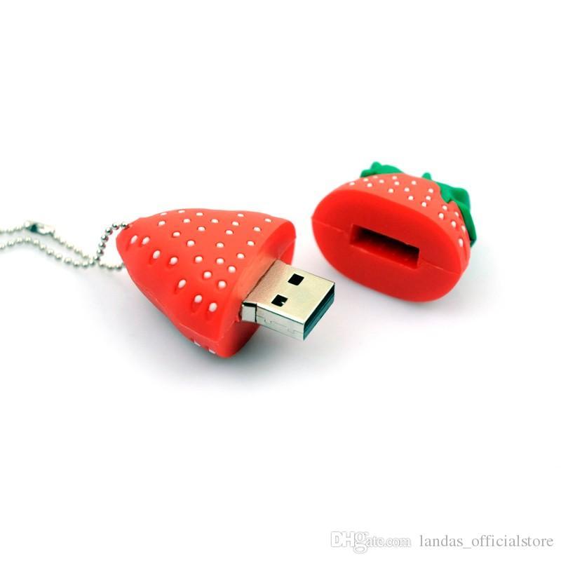 Nouveau lecteur flash usb arraive Strawberry stylo lecteur 64 Go 32 Go 16 Go Pendrive 8 Go 4 Go USB Memory Stick usb 2.0 carte flash pour cadeau ou utilisation