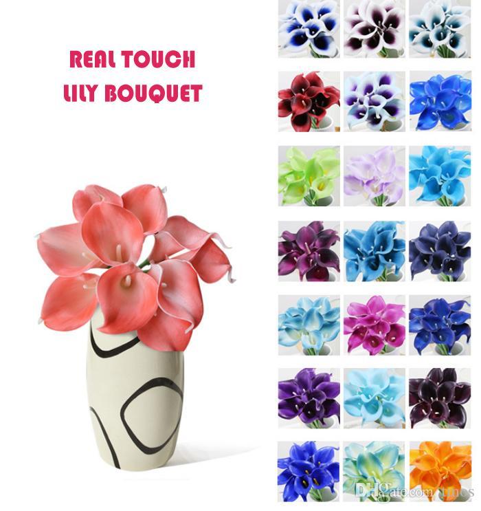 MOQ toque real Lily Simulação flor do casamento Bouquets Artificial Calla Lily para nupcial e Decoração sem vaso