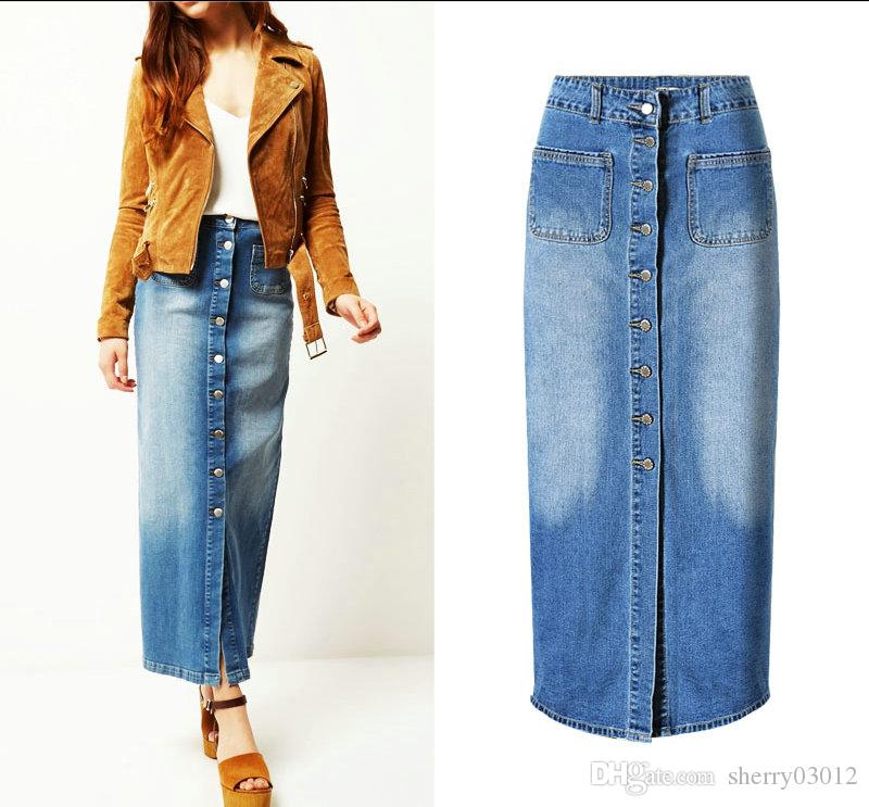 432afff3f3baf 2019 2017 Spring Long Jeans Skirts Women S Fashion Designed Blue Color A  Line Pockets Ladies High Quality Many Button Demin Skirt Hot Selling From  ...