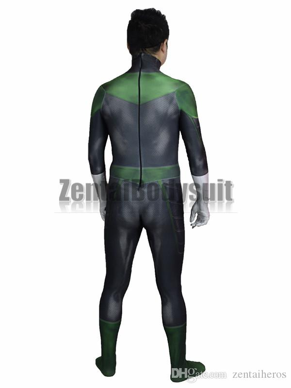 3D Movie Green Lantern Costume Bodysuits Suits Printed Spandex Lycra Cosplay Zentai Halloween Party Costume