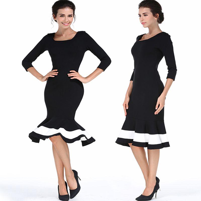 purchase cheap 164e6 6701e Primavera sexy donne U colletto nero vestito aderente nero al ginocchio  vestito celebrità vestito da partito sirena sheathy