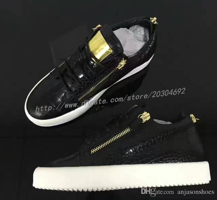women genuine sneakers for men Black Sawtooth soles gold metal Luxury Party Shoes zip men leisure trainer footwear fashion mens casual shoes