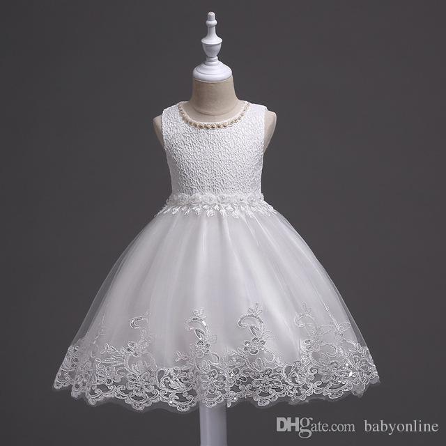 2017 Yeni Şirin Beyaz Pembe Küçük Çocuk Bebekler Çiçek Kız Elbiseleri Prenses Mücevher Boynu Düğünlerde Kısa Formalı Giysiler İlk Topluluk MC0817