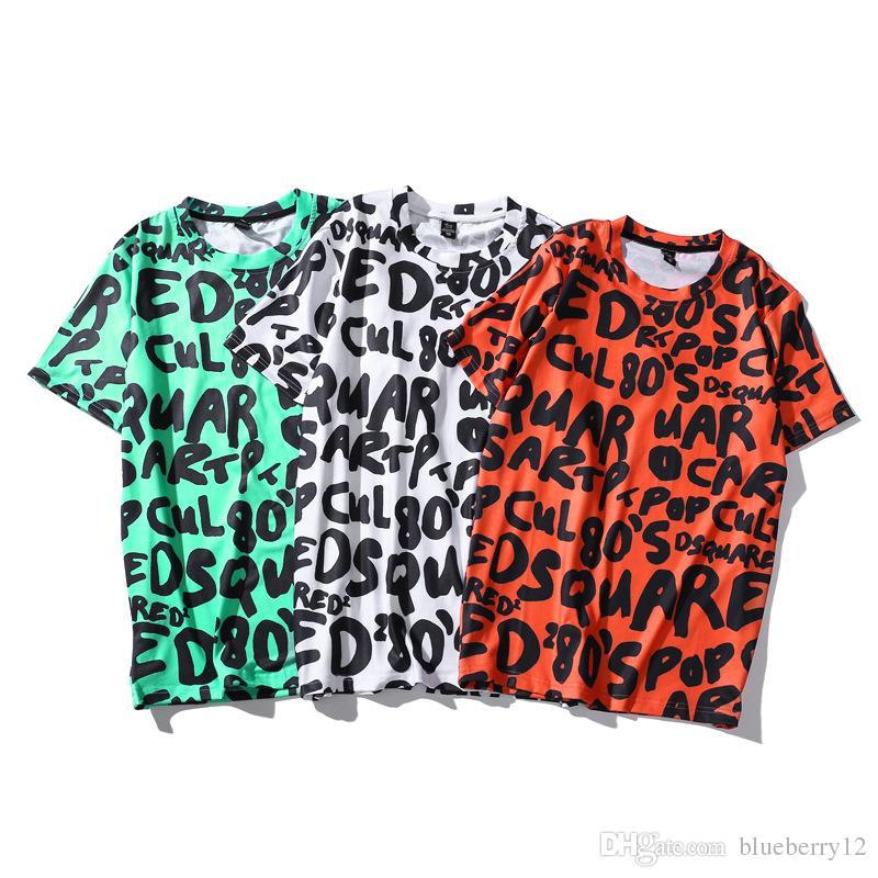 Heißer lustiger Grafik Emoji Buchstabe druckte kurze Hülse T-Shirts der Männer Männer Hip Hop-T-Stücke freie Verschiffen Kleidung