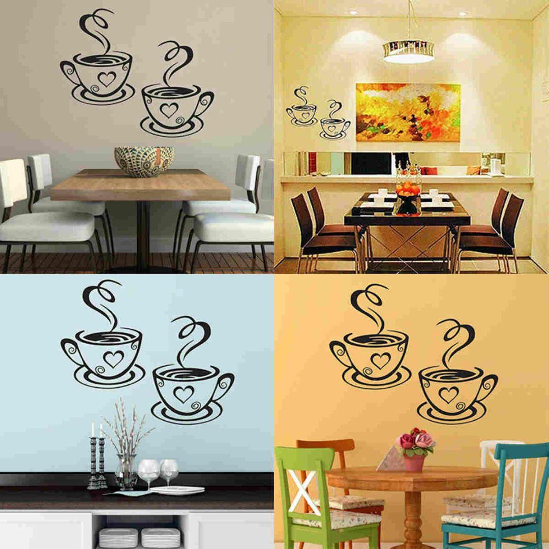 Mayitr Coffee Cups Cafe Tea Wall Stickers Beautiful Art Vinyl Decal ...