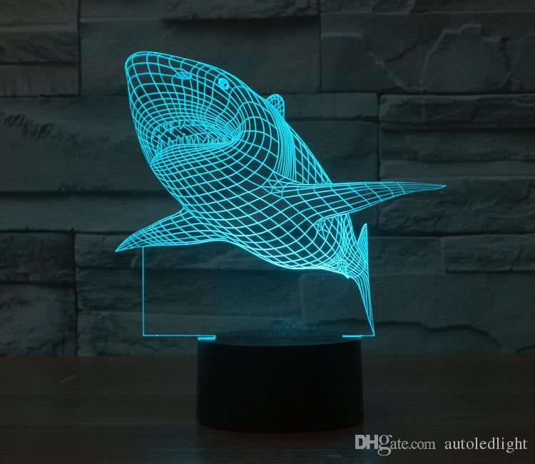 3D Shark Light Changing Table Desk Deck Lamp Bedroom Children Room Decorative Night LightShark