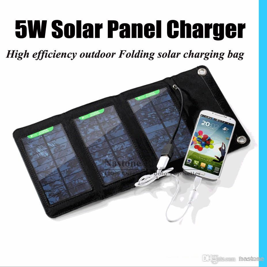 wholesale solar charger 5W High efficiency outdoor Folding solar charger bag solar panel charger For Mobilephone Power Bank MP3/4 Free