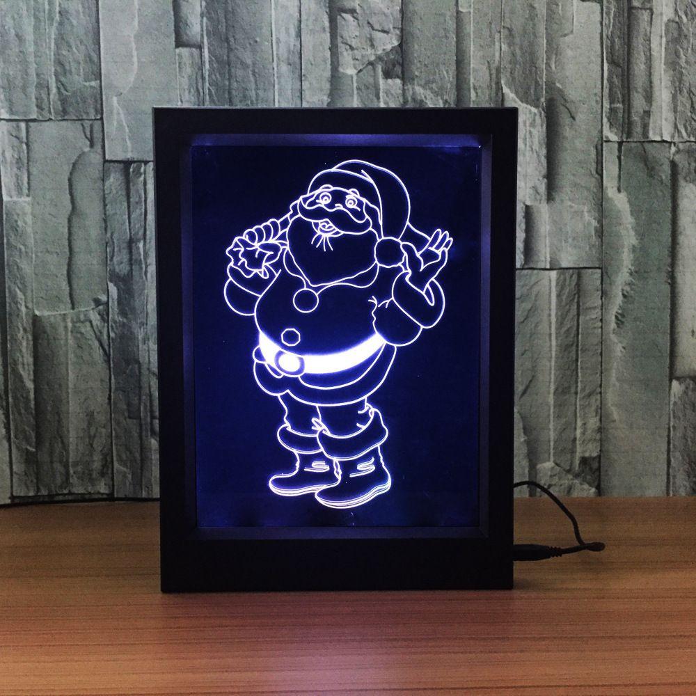 3D Christmas Santa LED Photo Frame IR Remote 7 RGB Lights Battery or DC 5V Factory Wholesale Dropship
