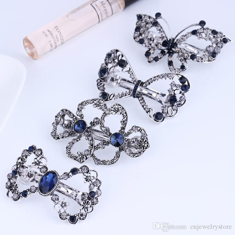 New Arrival Crystal Rhinestone Hair Clip Barrette Fashion Butterfly Hair Bow Clip Antique Silver Metal Hair Jewelry Accessories for Women