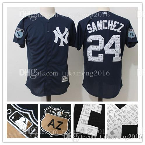 e2a2a4fd8 ... Embroidery New York Yankees 24 Gary Sanchez Baseball Jerseys Mens 2017  Spring Training Cool Base Player