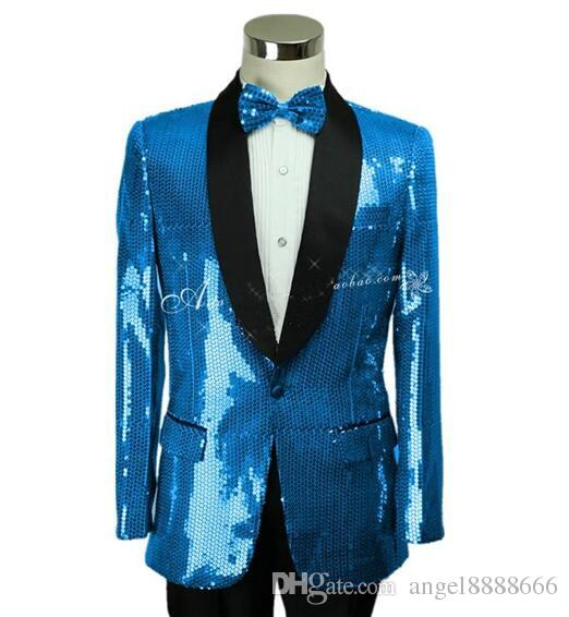 f1522ac163a4e 2019 Jacket+Pants New Male Suit Men Sequins Blazer Coat Singer Bar  Nightclub Costumes Club Costumes Prom Host Stage Wear Performance Clothing  From ...
