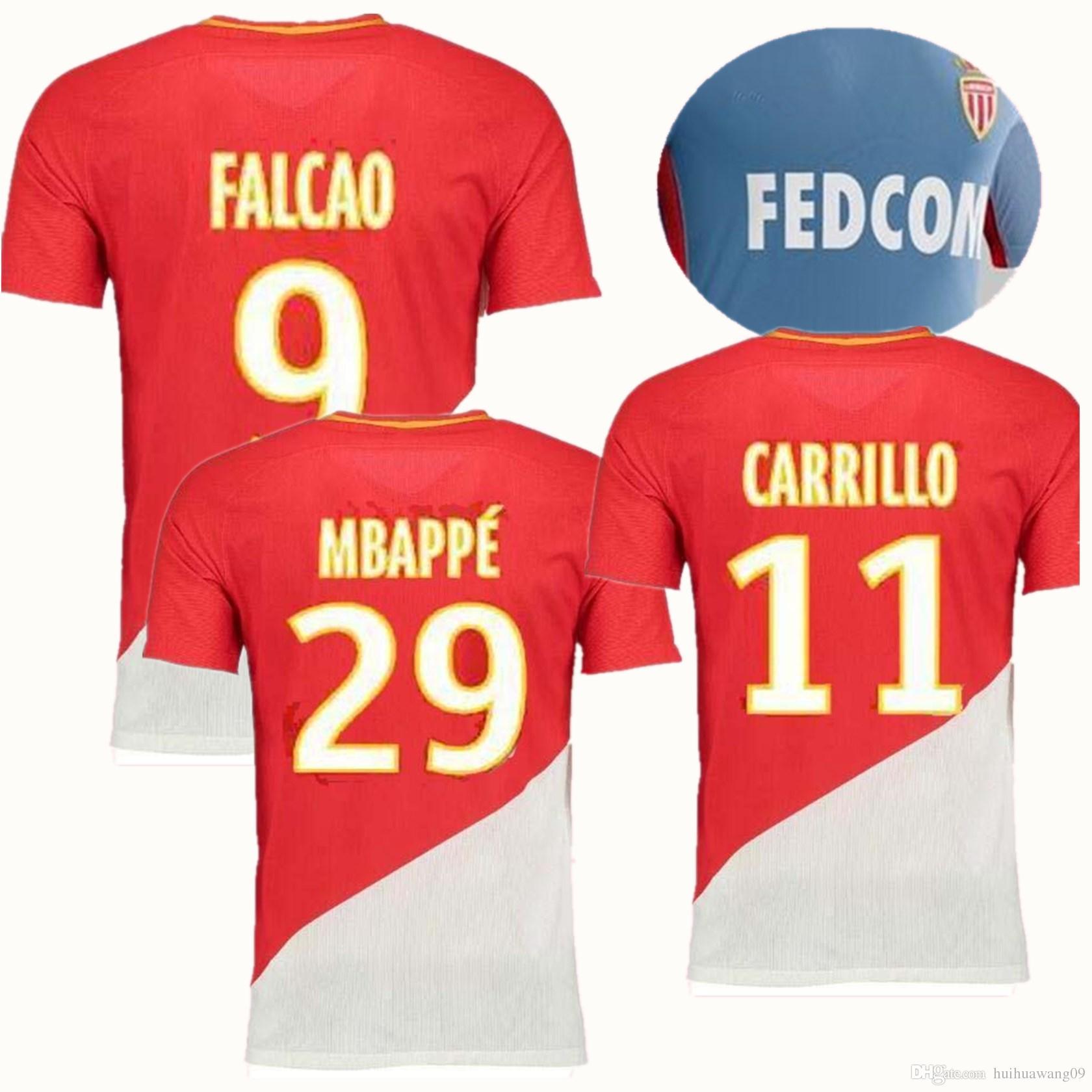 ... As Monaco Soccer Jerseys Bernardo Falcao Mbappe Home Kit Red Jersey  Moutinho Carrillo 17 18 Away Monaco Jersey Football Shirts Under $16.1 |  Dhgate.Com