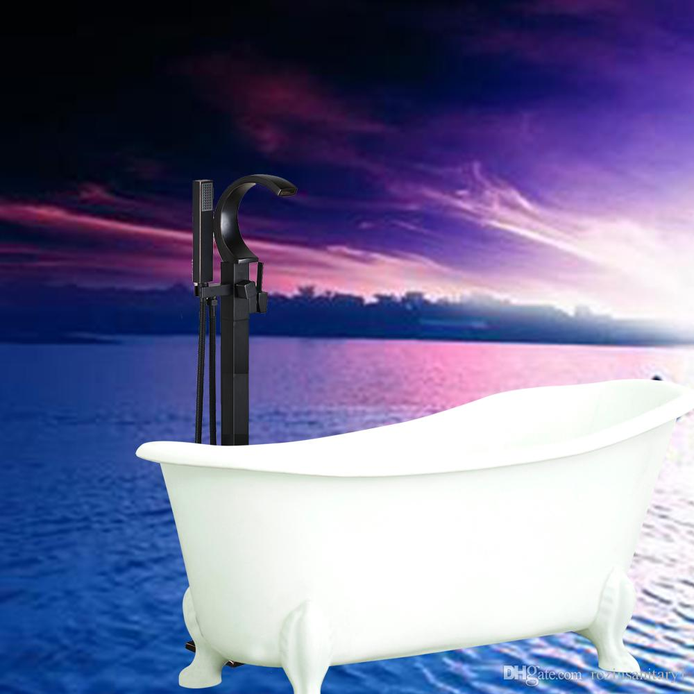 Wholesale And Retail Waterfall Spout Bathroom Tub Faucet Free Standing Square Tub Filler Handheld Sprayer Floor Mounted Oil Rubbed Bronze