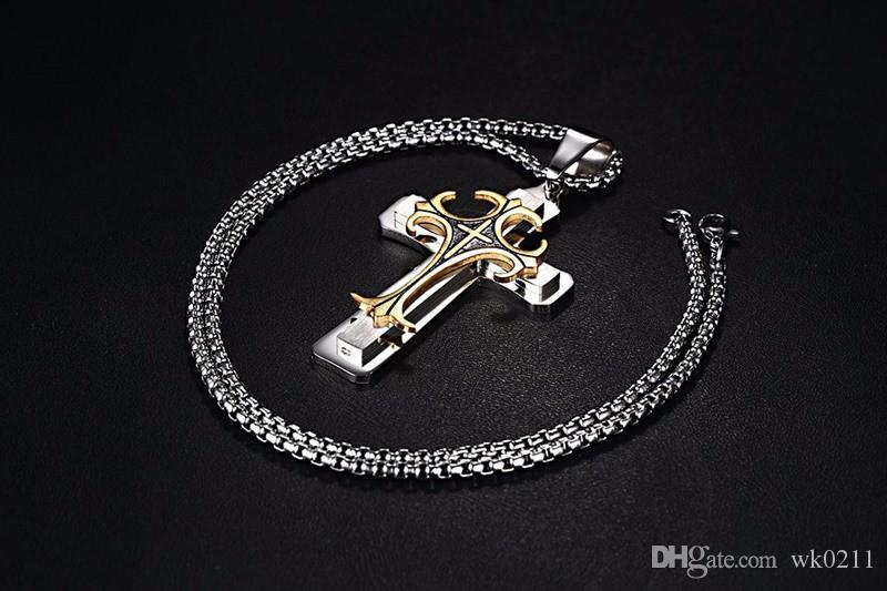 "MK Stainless Steel Bold Large Layered Statement Cross For Men Male Pendant Necklace - 24"" Chain"