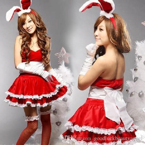 Halloween Christmas Rabbit Girl Cosplay Performance Stage Party Theme Costume Women Bow Lace Ruffles Dress Headdress Gloves Three Sets Suits Themed ...  sc 1 st  DHgate.com & Halloween Christmas Rabbit Girl Cosplay Performance Stage Party ...