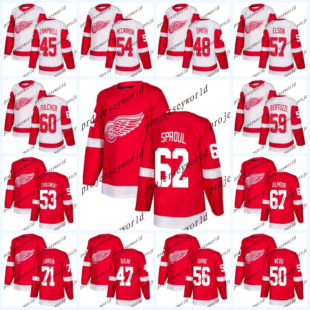 b49fc65f1de Detroit Red Wings Jerseys Mens' 2017-2018 Season 45 Colin Campbell 46 Lane  Zablocki 47 Libor Sulak 48 Ryan Sproul Hockey Jerseys