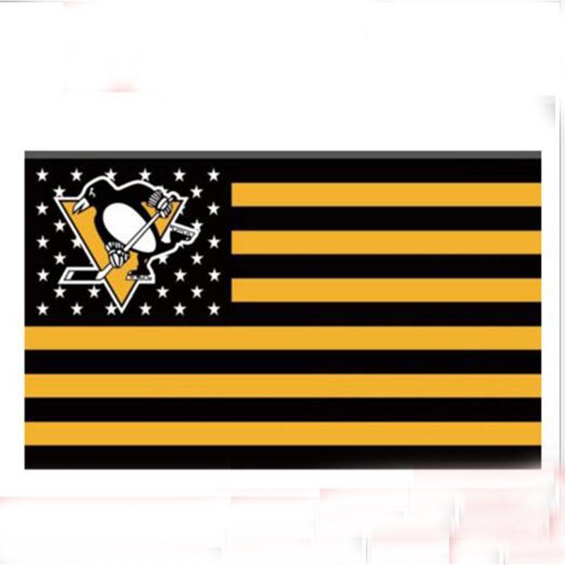 3Ftx5Ft Pittsburgh Penguins Bandiera degli Stati Uniti Bandiera a stelle e strisce Bandiera 100D bandiera poliestere Occhielli in metallo Decorazioni