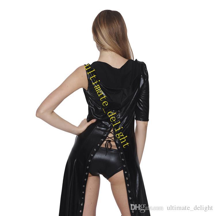 واحد كم طويل المعطف هوديي جلدية معطف جنس مثير جنس المرأة فليرتي الإناث مثير القماش