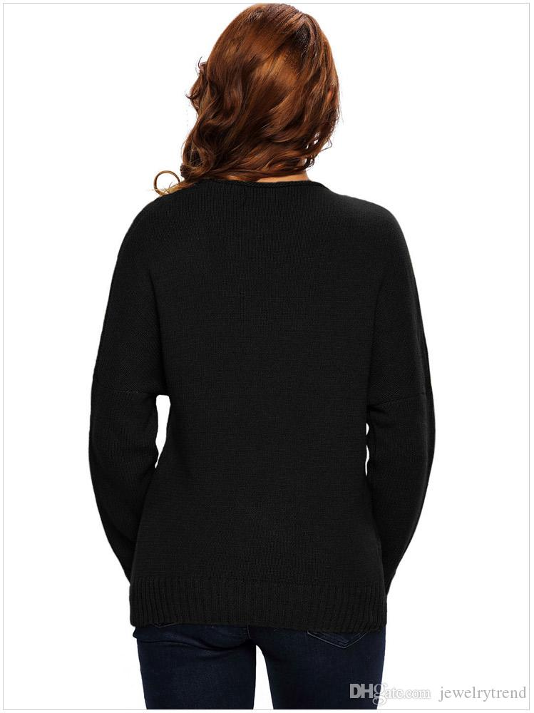 New Autumn Europe Fashion Women's Sweater Lady's V Neck Cross Long Sleeve Knitted Pullovers Tops Knitwear Sweaters