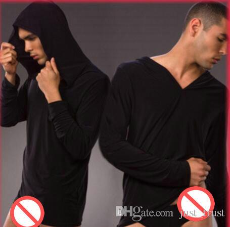 Top New sales Hooded Bodywear Soft sexy Men's sleepwear Bathing Robes almost naked see through Undershirts Men's Underwear