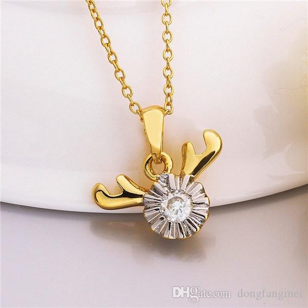 Brand new Yellow Gold White crystal jewelry Necklace for women DGN813,antlers 18K gold gem Pendant Necklaces with chains